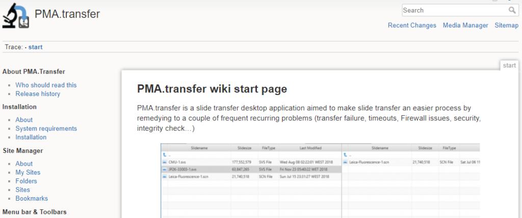 Pathomation PMA.transfer wiki
